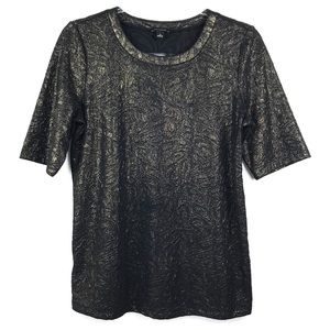 Ann Taylor Black & Gold Textured Short Sleeve Top